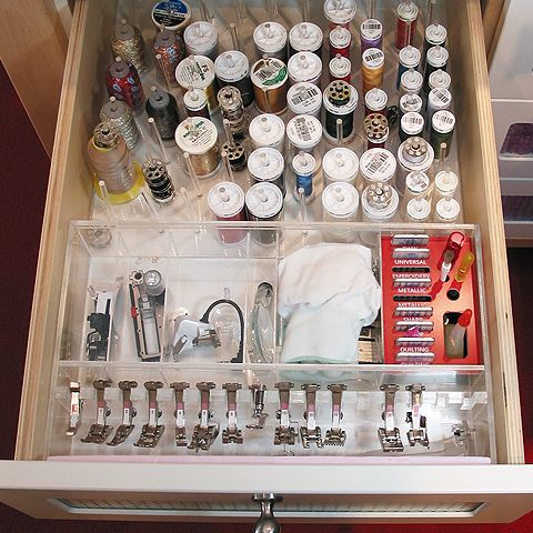 Drawer Organizer by athomesewing, via Flickr.  She includes details of how she designed and constructed this customized accessories drawer.