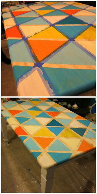 fun triangle print painted table idea using painters tape (and horrible color choices)