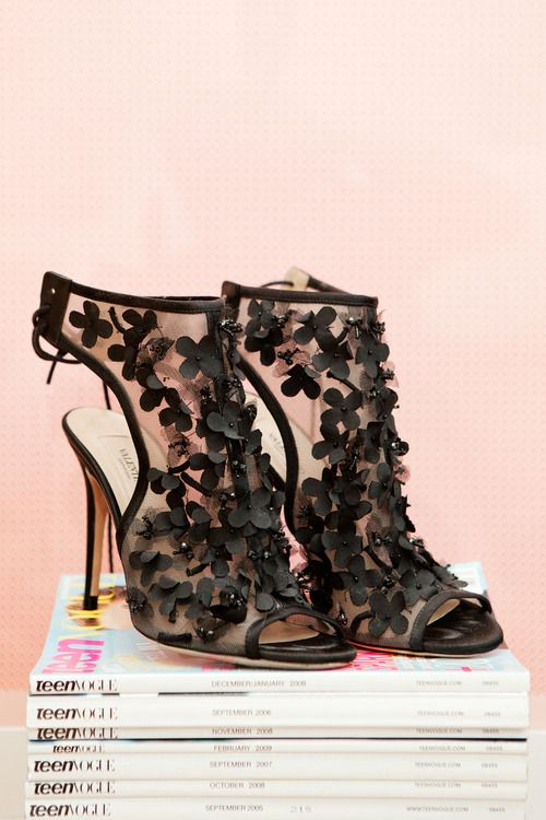 """""""My Valentino shoes sit on old issues of Teen Vogue. I got them on sale at Bergdorf's. I love anything with heavy embellishments, and I love a black peep-toe. I had to have them!"""" - Frances of Pink Horrorshow  Check out Frances' bedroom tour here»"""