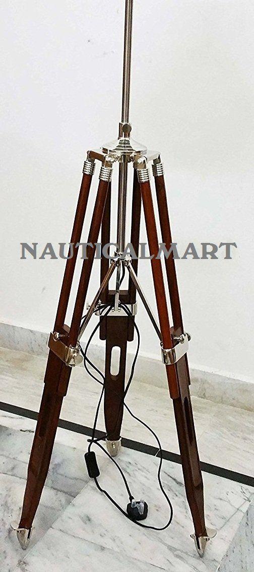 DESIGNER ROYAL NAUTICAL WOODEN TRIPOD FLOOR LAMP SPOTLIGHT STAND BY NAUTICALMART: Amazon.co.uk: Lighting
