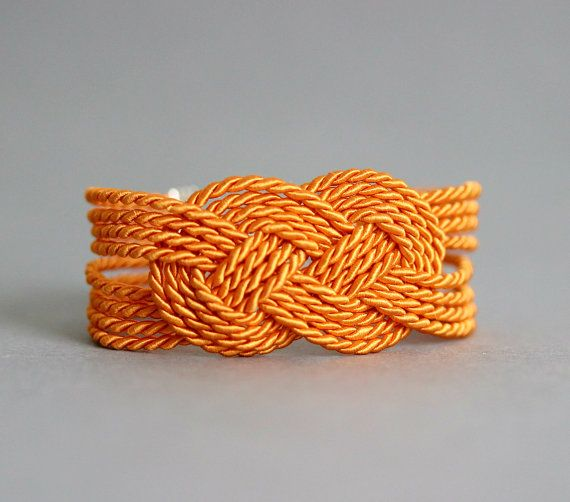 Orange Rope Bracelet Sailor Knot Bracelet Nautical Rope