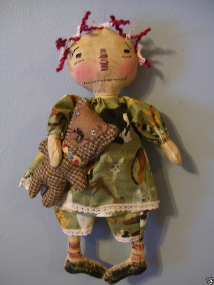 "Primitive Raggedy Ann Doll 13"" High"