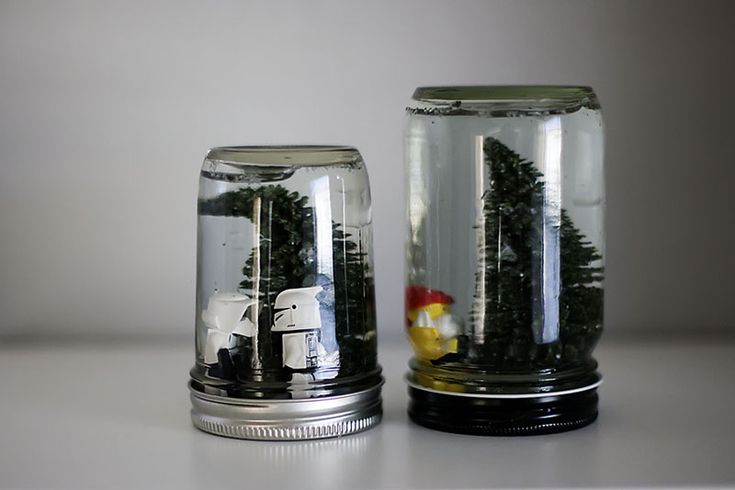 snowglobes with Lego men