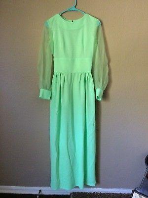 Neon Mint Green Handmade Vintage Dress 70s XS S