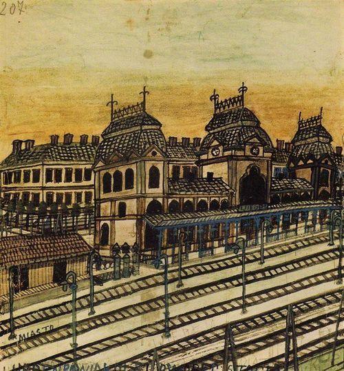 Nikifor Krynicki (1895 – 1968) - Train Station in Vienna