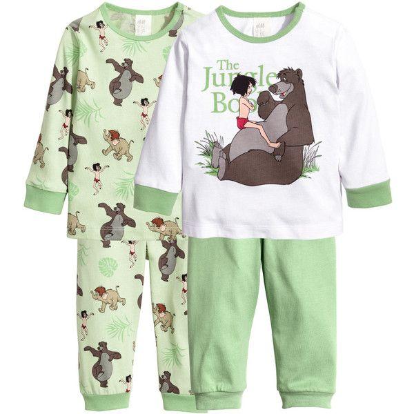 2-pack Pajamas $19.99 (69 BRL) ❤ liked on Polyvore featuring intimates, sleepwear, pajamas, long sleeve pajamas, cotton jersey, green pajamas, long sleeve pyjamas and long sleeve sleepwear