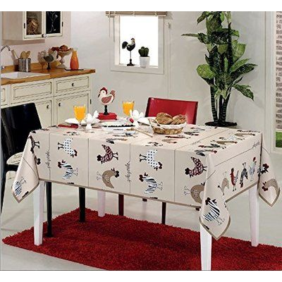 """August Grove Homer Modern Chicken Vinyl Indoor/Outdoor Non-Woven Backing Kitchen Picnic Tablecloth Size: 55"""" W x"""
