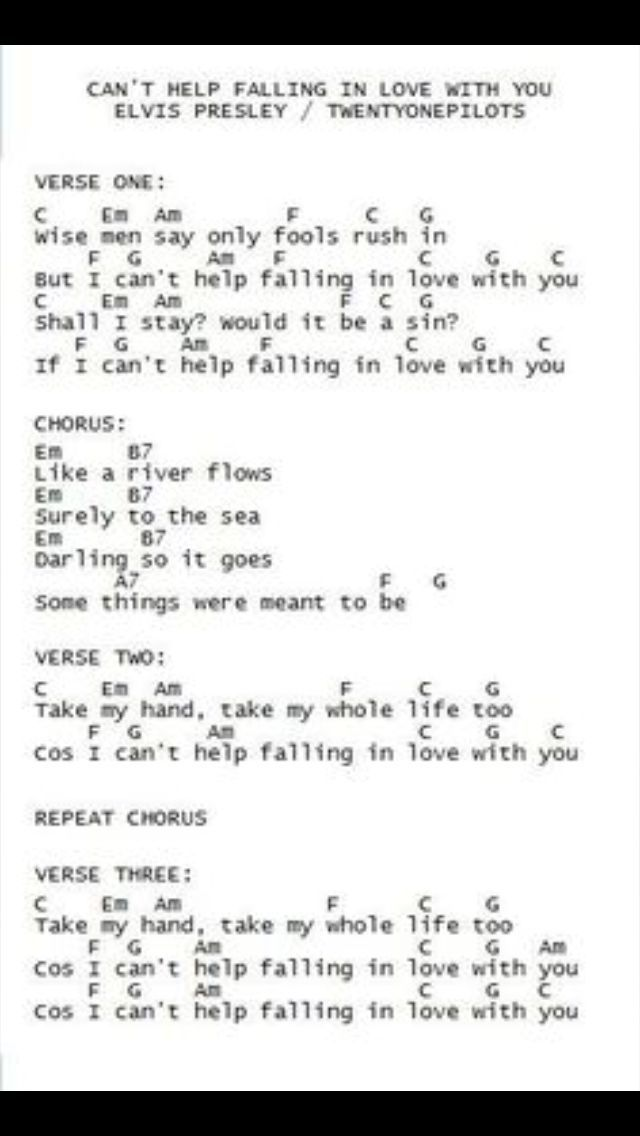 All Music Chords Can T Help Falling In Love With You Sheet Music