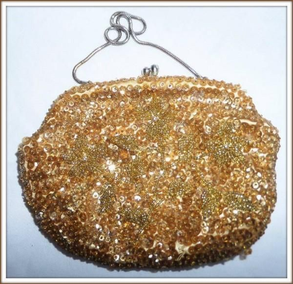 VINTAGE 50s 1960s GOLD bead SEQUIN handmade EVENING BAG clutch handbag HONG KONG