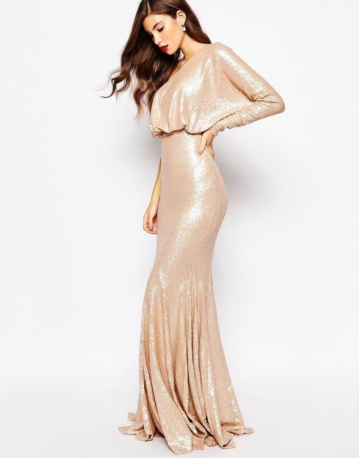 Forever Unique @ ASOS Bodycon Tempest Fishtail Sequin Maxi Dress UK 8/EU 36/US 4