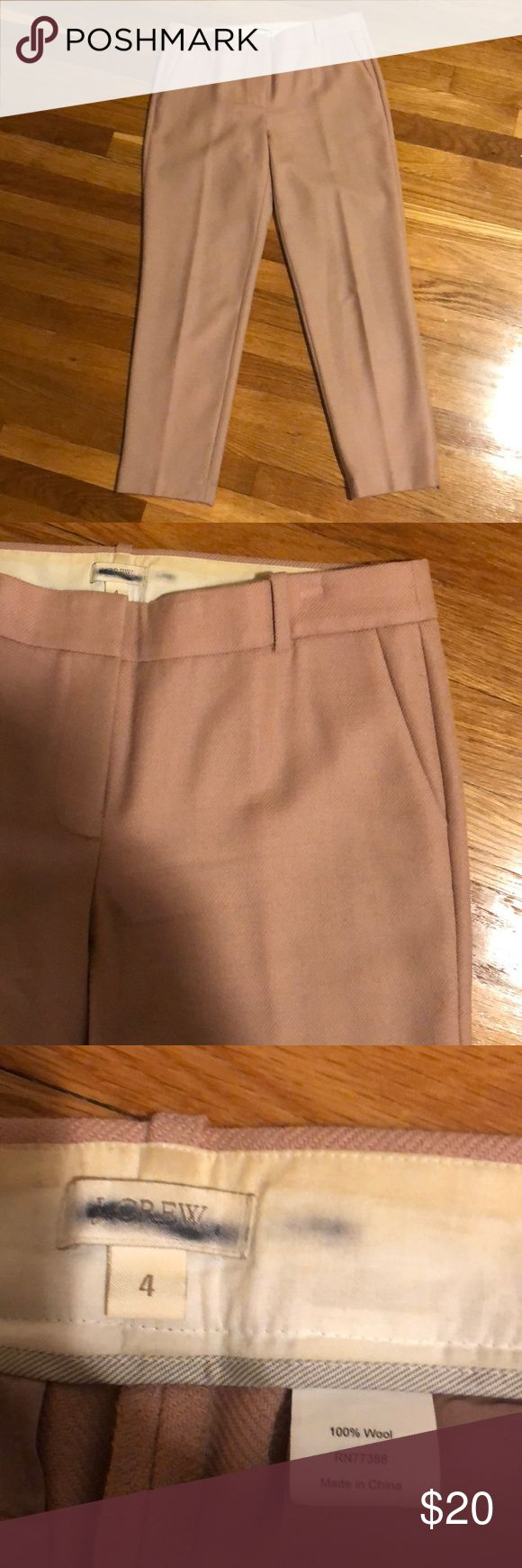 J. Crew Pink Wool Ankle pants J. Crew pink unlined wool pants. From a sample sale so the label is struck through, but pants are great condition! Cropped at about ankle length. Unlined 100% wool pants. Amazing statement pants for work at a super steal! J. Crew Pants Trousers