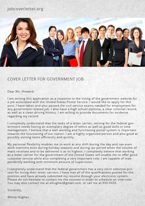 Cover Letter for Government Job Job