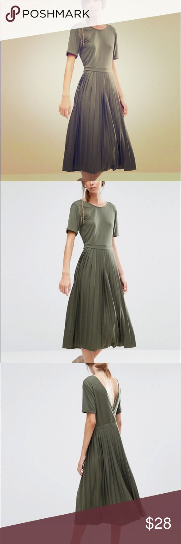 ASOS PLEATED MIDI DRESS ASOS pleated midi dress in Army Green. Worn once. Good condition. ASOS Dresses Midi