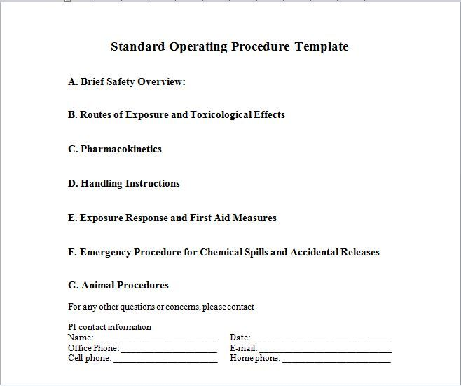37 Best Standard Operating Procedure Sop Templates With Images