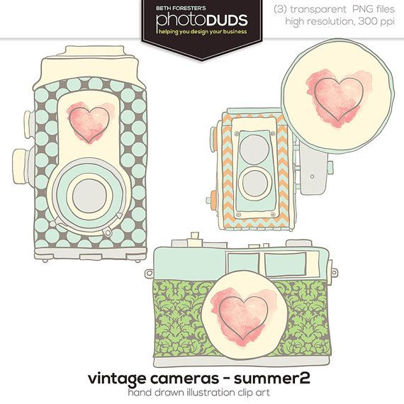 VINTAGE CAMERAS - SUMMER 2, Digital Embellishments Clip Art | hand drawn watercolor mint heart vintage antique pattern damask chevron
