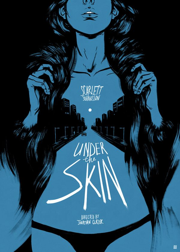 Illustrated movie poster based on Jonathan Glazer's 'Under the Skin'. By Lauren O'Neill.