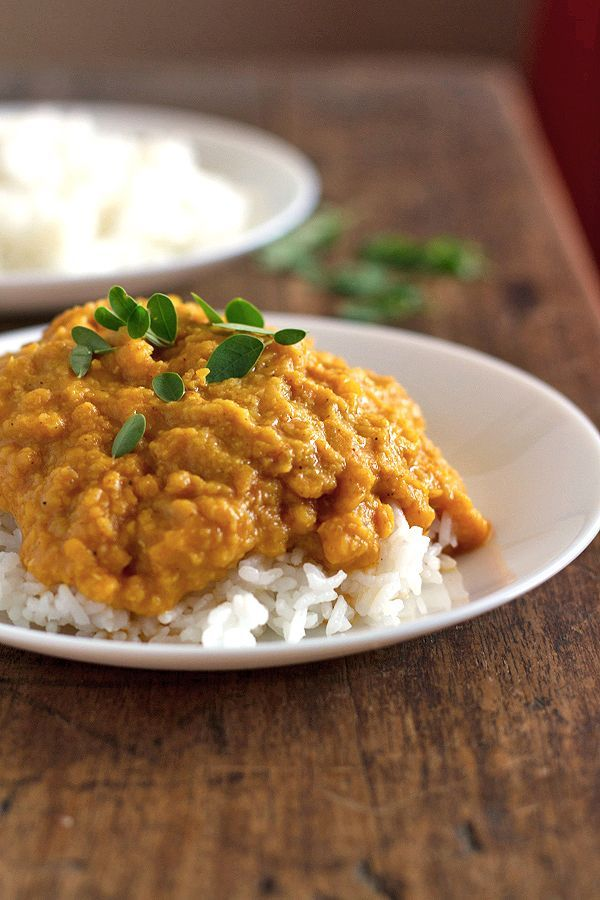 This easy red lentil dhal (or dahl, or dal) is flavored with curry paste and coconut milk. Incredibly simple and so delicious. This makes for great leftovers, too!