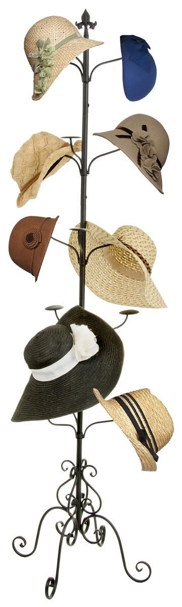 5-Tier Clothing Rack for Hats, Floor Standing, 31 Total Hooks - Black http://www.displays2go.com/P-23410/Wrought-Iron-Hat-Rack-with-2-Hook-Attachment-Options?st=SearchLandingPage&sid=hat