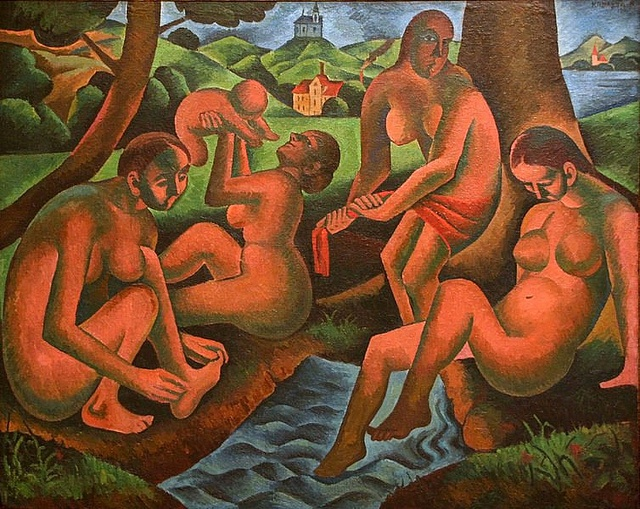 Kubista, Bohumil (1884-1918) - 1911 Women Bathing - Spring (National Gallery, Prague, Czech Republic) ( by RasMarley, via Flickr
