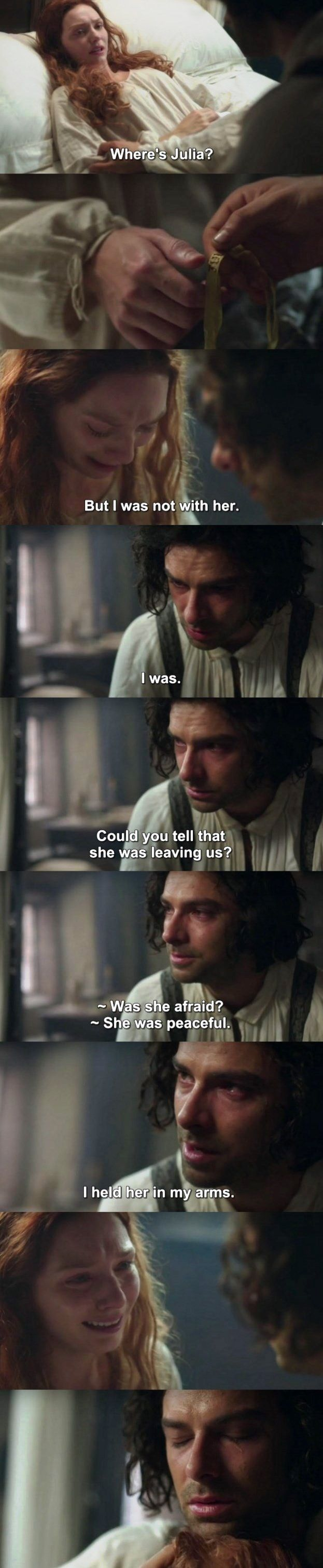 Most heartbreakingly raw and beautiful scene in Poldark. Ross and Demelza's love for each other is so strong, even in their harrowing pain. Aidan Turner and Eleanor Tomlinson deserve major awards for this moment.