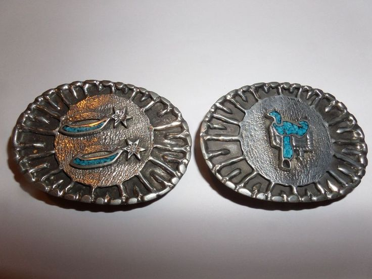 VINTAGE 2 LOT 1970s COWBOY SPURS  & SADDLE TURQUOISE INLAY BELT BUCKLES WAS $49 #Classic