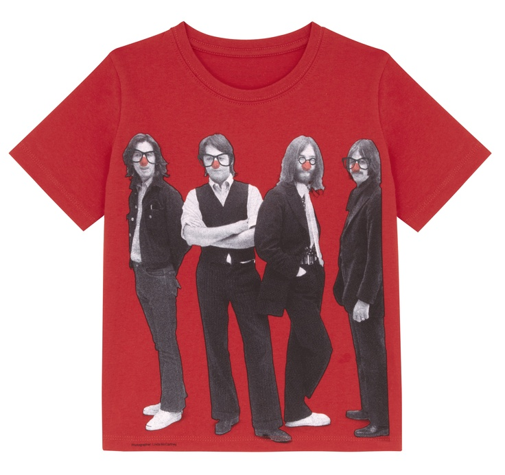 Beatles Kids Red Nose Day T-shirt. A red T-shirt featuring an iconic black and white photograph of The Beatles taken by Linda McCartney, with the addition of red noses and glasses. Designed by Stella McCartney exclusively for Red Nose Day. With at least £2.50 going to Comic Relief, helping to change lives across the UK and Africa, this t-shirt is £5.99. 100% organic Fairtrade certified cotton. Wash at 40.