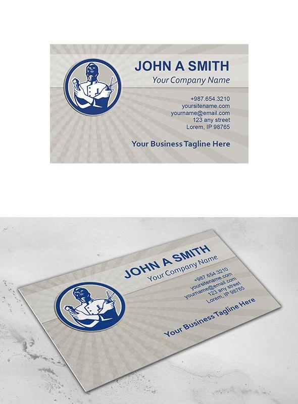 Business Card Template Barber Retro