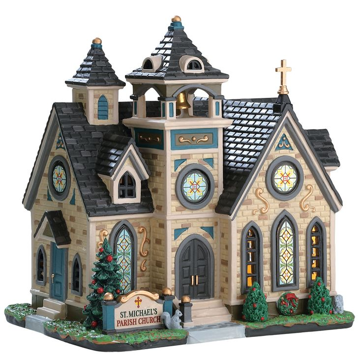 Lemax St. Michael's Parish Church.  SKU# 75242. Released in 2017 as a Caddington Porcelain Lighted Building.