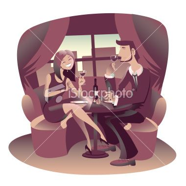 Young couple of lovers have a romantic dinner at restaurant Royalty Free Stock Vector Art Illustration