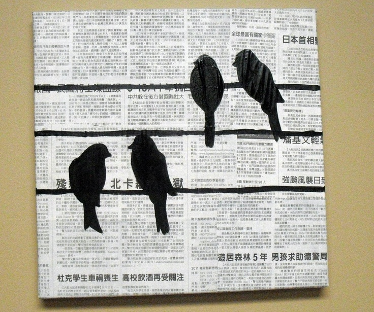 square canvas painting with bird silhouette - Google Search