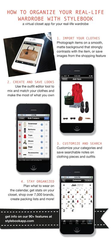Stylebook is a virtual closet for your real-life wardrobe. The app provides a number of tools to help you get the most out of your wardrobe—including a closet to catalog pictures of your clothes, customizable categories, a calendar to plan what to wear, a worn history log to track how often clothes are worn, a style inspiration library and an outfit creator to let users build outfits and mood boards.