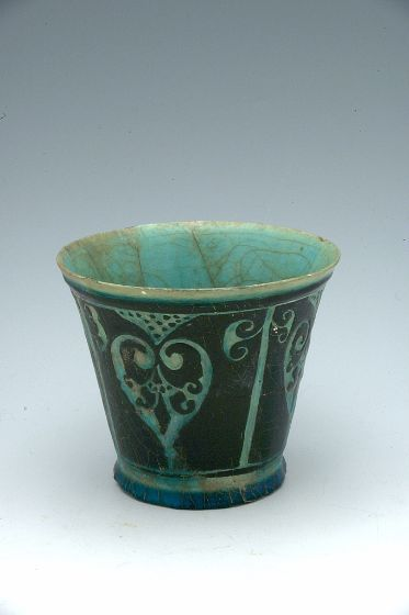 Vessel Persian, 12th-13th century Seljuk-Atabeg period Creation Place: Iran Fritware with slip painting and sgraffito decoration under turquoise glaze (silhouette-ware) 11 x 12.5 cm (4 5/16 x 4 15/16 in.) Harvard Art Museums/Arthur M. Sackler Museum, Sarah C. Sears Collection, 1936.48 Department of Islamic & Later Indian Art, Division of Asian and Mediterranean Art