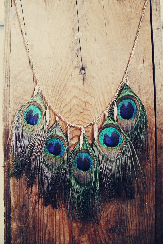 Peacock Feather Necklace with Metal Feather Charms, Hippie Feather Necklace, Aztec, Bohemian, Peacock Wedding