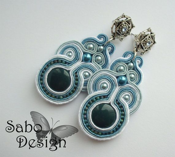 MILO - soutache earrings handmade embroidered by SaboDesign.