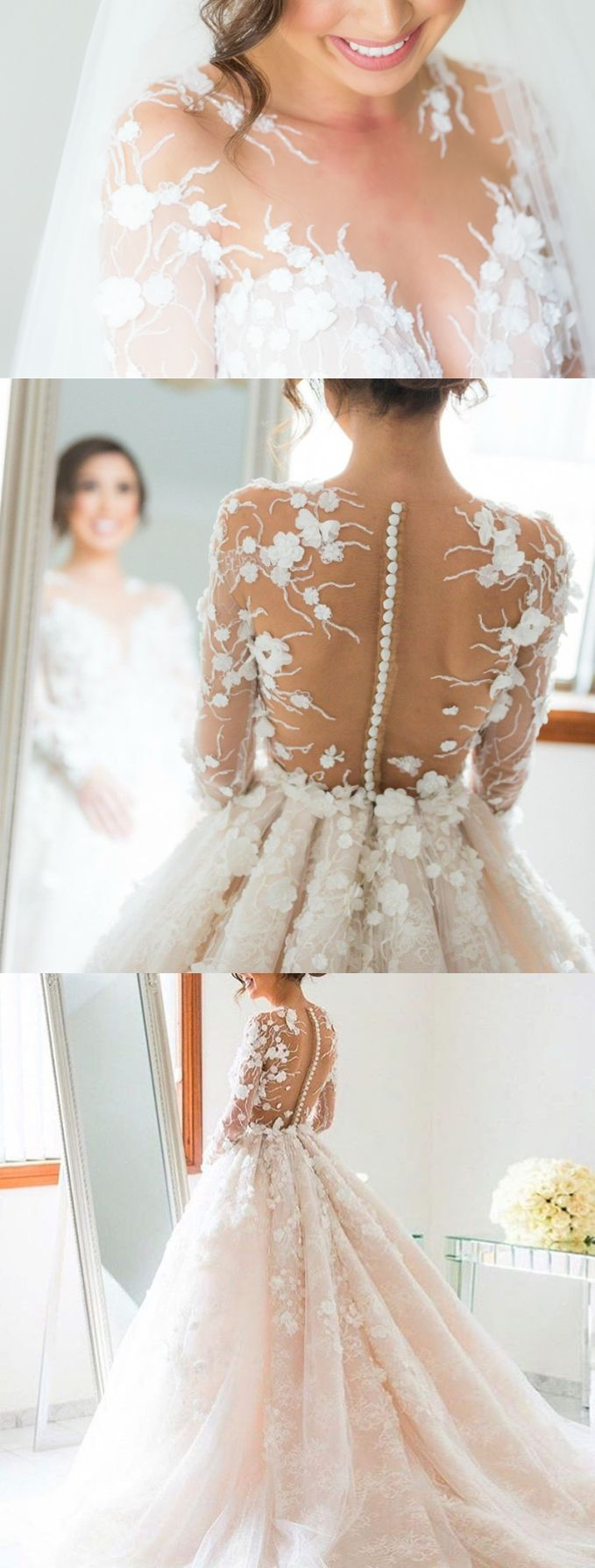 Ball Gown Wedding Dresses,Long Illusion Back Wedding Dresses,Lace Wedding Dresses,Wedding Dresses 2017,Long Sleeves Wedding Dresses