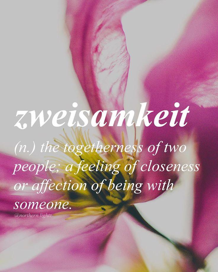 """German Zwei = two  This word relates to """"einsamkeit"""" (eins= one) which translates into loneliness. """"Zweisamkeit"""" is the opposite."""