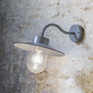 Applique extérieure en acier gris anthracite col de cygne St Ives, qui se revelera idéal pour éclairer une entrée, un portail ou un porche. L'ampoule est protégée par un large réceptacle en verre.