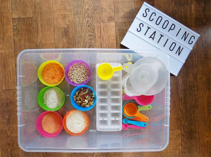 A really fun sensory/ busy toddler activity is a scooping station. Check out how we put ours together to see how simple it is to keep toddlers busy!
