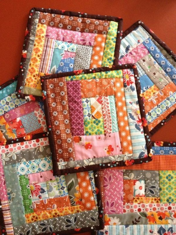 Scrappy Quilted Potholders Sewing Ideas Pinterest Sewing