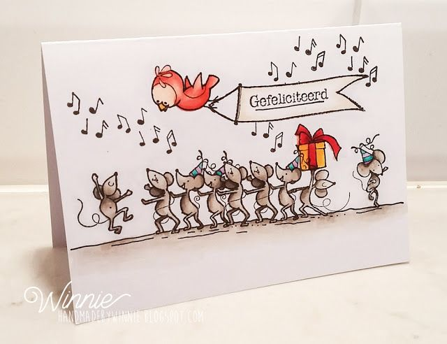One Layer card made with the stampsets of Marianne Design