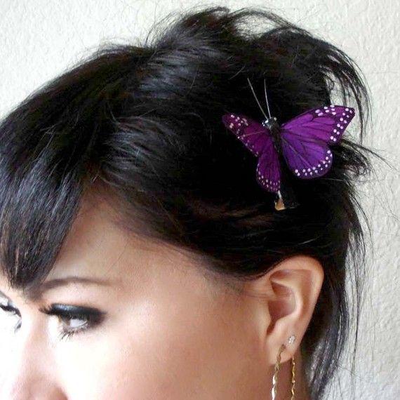 STELLA  purple feather butterfly hair clip  bohemian hair by kaang, $6.50