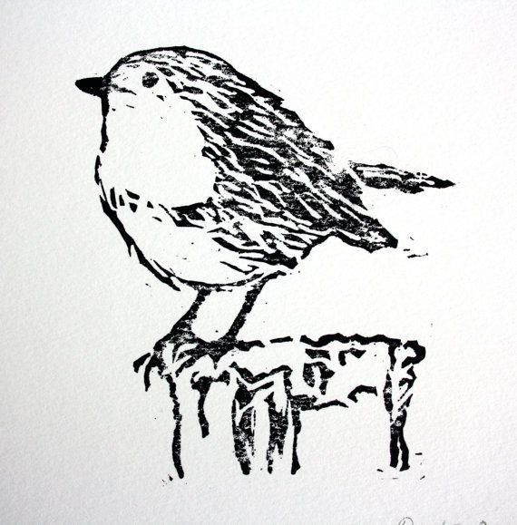 Linocut Robin Print.  Bird Print Art.  Lino by TheLinoPrintShop, £7.50