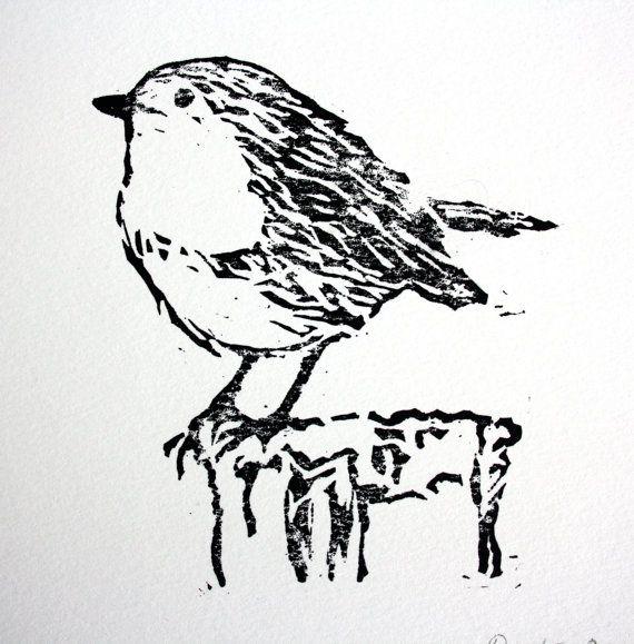 Linocut Robin Print.  Bird Print Art.  Lino by TheLinoPrintShop, £7.50