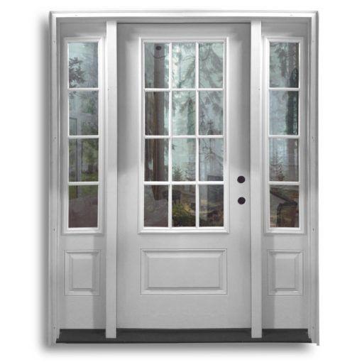Pre Hung Fiberglass Door 2 Sidelites 3qtr 12 Lite Primed White Shaker Style Doors Fiberglass Door Fiberglass Exterior Doors
