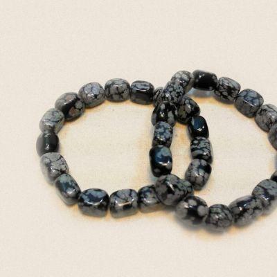 Brățară, obsidian fulg de nea | Matilda Creations Făcut din: obsidian fulg de nea ( nugget), cu cauciuc