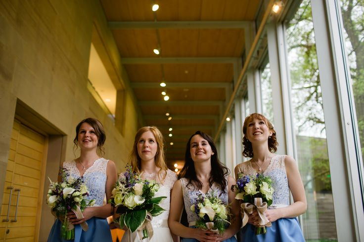 The beautiful bride and her bridesmaids at Yorkshire Sculpture Park. Photo © Lee Allen.