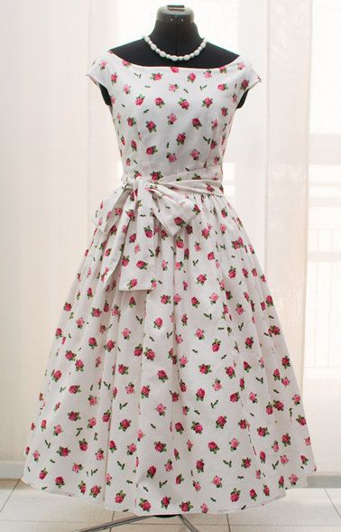 50s floral tea length bridesmaid dress, 1950s prom, mad men dresses, date dress, rehearsal dinner dress, red roses sundress CUSTOM MADE