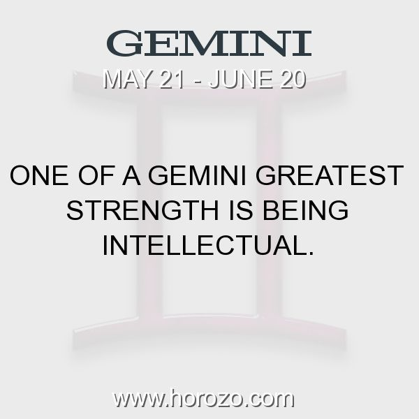 Fact about Gemini: One of a Gemini greatest strength is being intellectual. #gemini, #geminifact, #zodiac. More info here: https://www.horozo.com/blog/one-of-a-gemini-greatest-strength-is-being-intellectual/ Astrology dating site: https://www.horozo.com