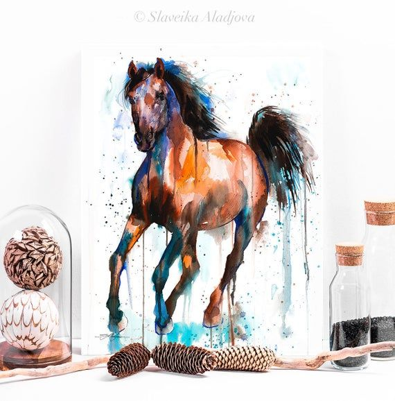 Brown And Black Horse Watercolor Painting Print By Slaveika