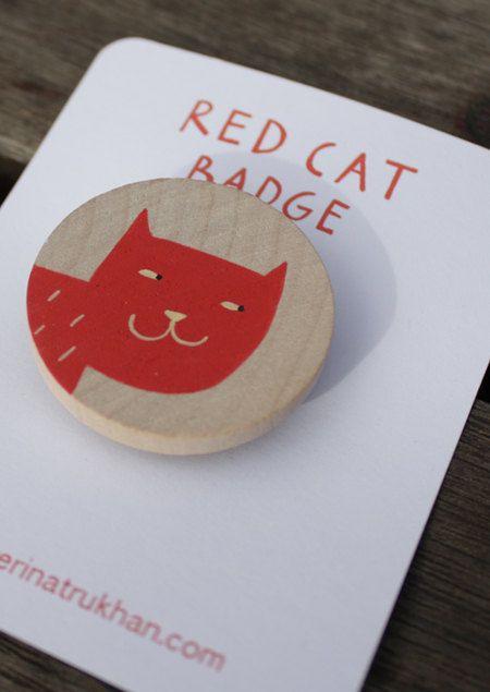 meiow | red cat badge @Vanessa McKay begeluri on Etsy, $10.00